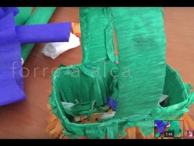 DIY Cesta de páscoa (caixa de leite)  #2 || CANAL DA JULANI ✂️ Artesanato