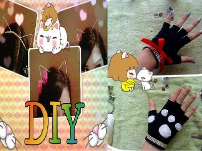 DIY♥Como fazer orelha de gato♥Arame e Luva de gato♥