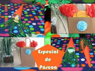 DIY | Especial de Páscoa #1. Cenoura Porta Chocolate + Sacola Rabinho de Coelho.