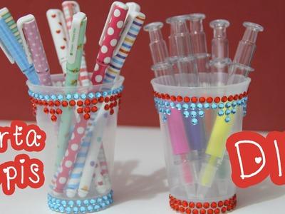 Porta lápis com pote de requeijão - DIY