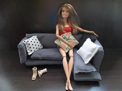 Tutorial: Como fazer sofá para boneca Barbie, Monster High etc - DIY - Passo a passo - Fácil