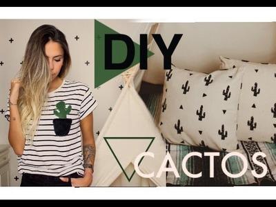 DIY: Camiseta.Almofada.Luminária CACTOS por Dicadaka