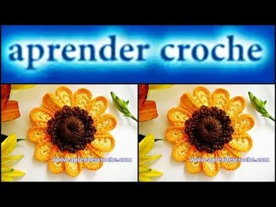 FLORES EM CROCHE FLOR GIRASSOL MODELO UM - 029