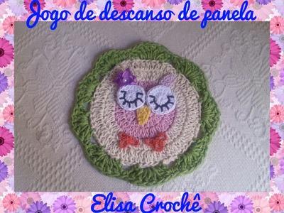 Jogo de descanso de panela família corujinha : Bebê # Elisa Crochê