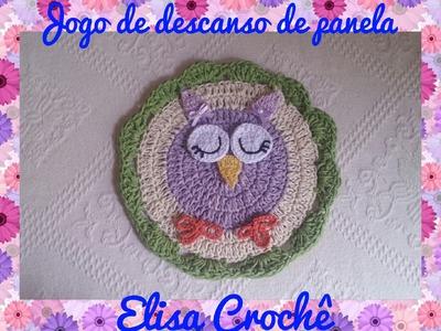 Jogo de descanso de panela família corujinha : Filha # Elisa Crochê
