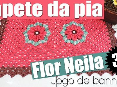 """Tapete da pia - Jogo de banheiro flor Neila 3D - 1.4 """"Soraia Bogossian"""""""