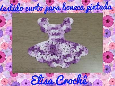 Vestido curto para boneca no pano de prato#Elisa Crochê