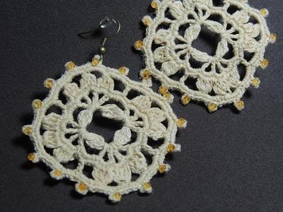 Brinco de crochê Quadrado com miçangas - Canhotas