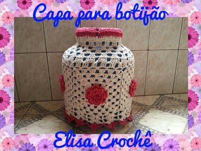 Capa do botijão rosa vermelha (2ª parte final )# Elisa Crochê
