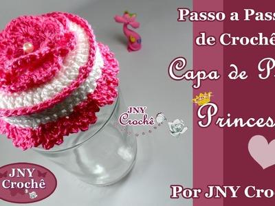 Capa para tampa de pote Princesa por JNY Crochê