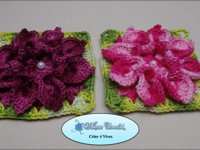 Flor de Crochê Para Aplicação em Diversos Trabalhos