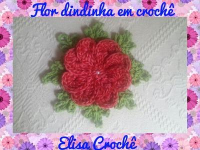 Flor dindinha em crochê # Elisa Crochê