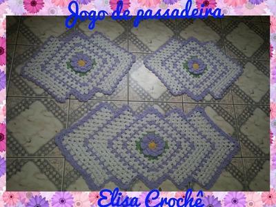 Jogo de cozinha passadeiras flor lilás  # Elisa Crochê
