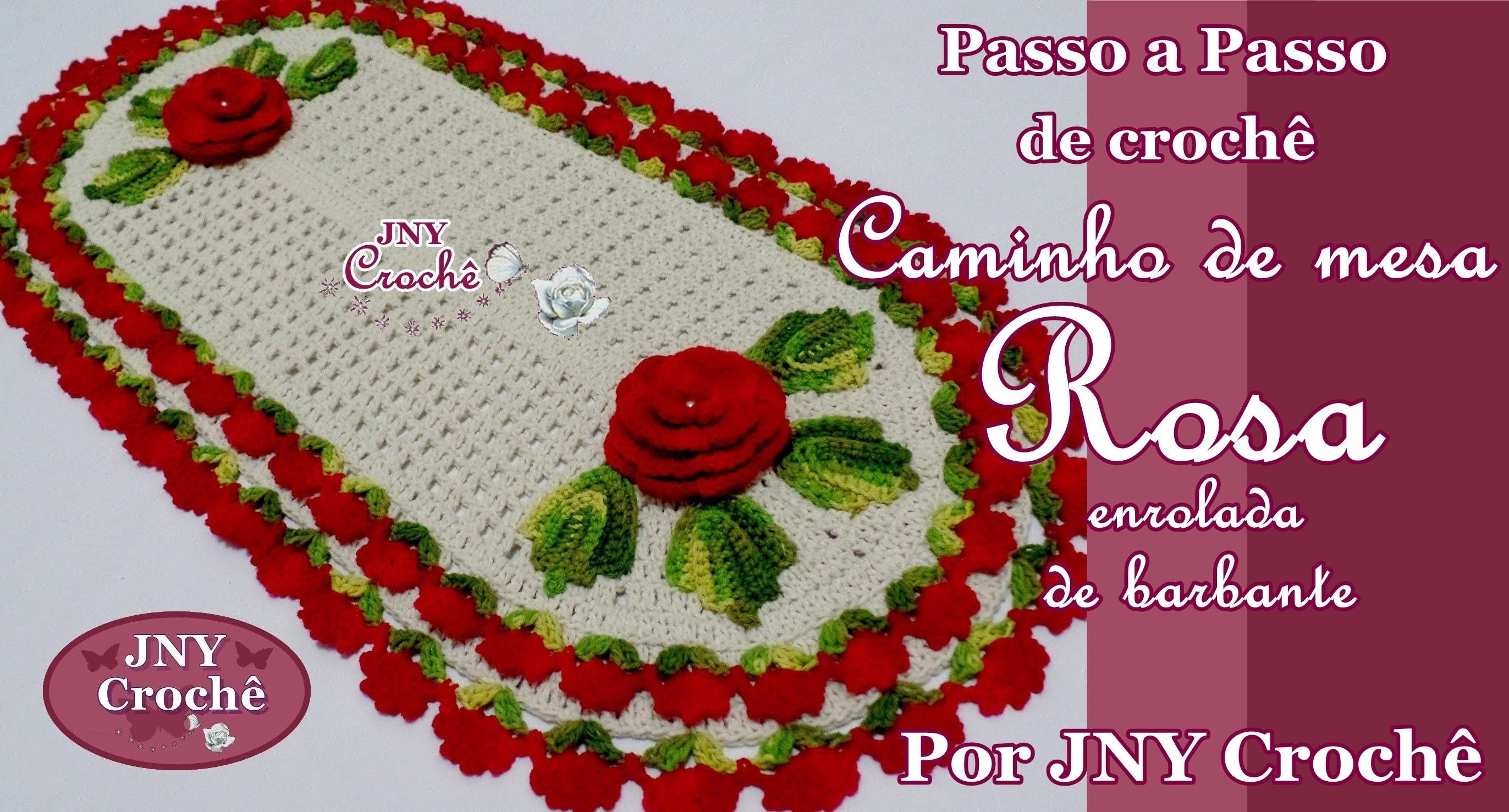 PAP Caminho de mesa de crochê Flor Rosa de barbante por JNY Crochê