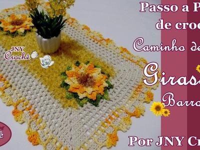 PAP Caminho de mesa Girassol Barroco por JNY Crochê