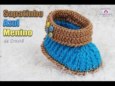 Sapatinho azul de Crochê Menino - Professora Simone