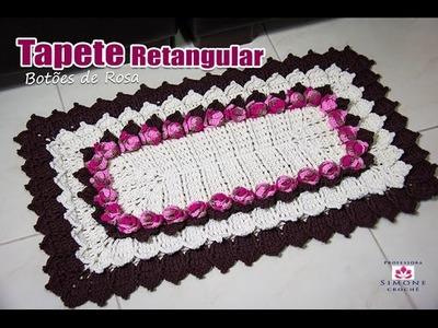Tapete de Crochê Retangular - Coleção Botões de Rosa - Prof. Simone