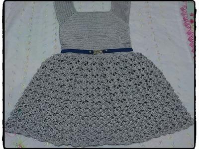 Vestido annabel infantil feito em croche parte 2
