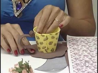 Artesanato porta chá - Cenário Feminino em 10.05.2014