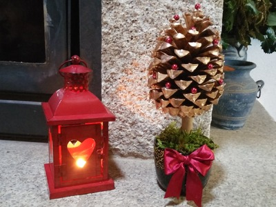 Arvore de Natal feita com pinha - DIY - How to make a pine cone christmas tree