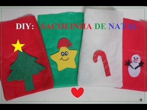 DIY: SAQUINHO de NATAL com TNT | Poliana