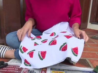 Mulher.com - 10.03.2016 - Pano de prato melancia - Camila Araújo - Quadro: Faça você mesmo