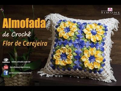 Almofada de Crochê Flor de Cerejeira - passo a passo - Professora Simone
