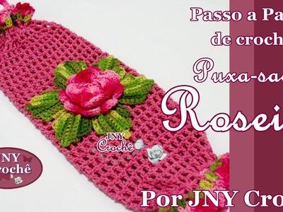 Passo a Passo Puxa saco de crochê Roseira por JNY Crochê