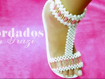 Sandália de pérolas com strass PURO REQUINTE