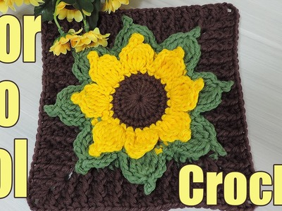"Square de crochê - Flor do Sol ""Soraia Bogossian"""