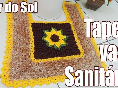 """Tapete de crochê para o vaso sanitário - Flor do Sol """"Soraia Bogossian"""""""