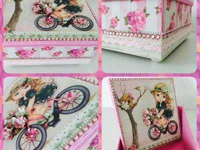 DIY: Caixa Scrap DeCor | Caixa Menina Flor | Livia Fiorelli | LifeArtesanato | Faça Você Mesmo