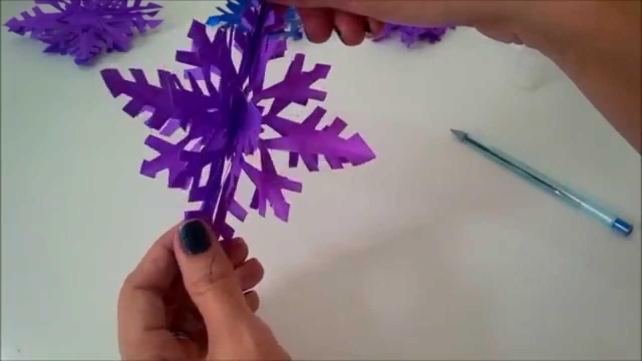 Floco Neve 3D de Papel - Especial Decoração Aniversário Frozen