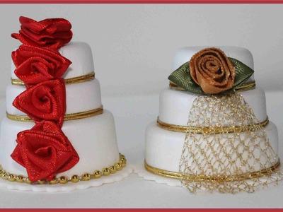 Como fazer mini bolo para lembrancinha de casamento com tampa de garrafa
