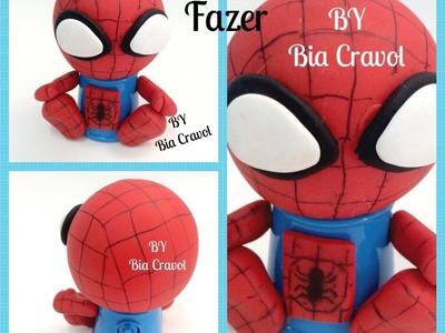 DIY - Homem Aranha no mini baleiro - Biscuit - porcelana fria -By Bia Cravol
