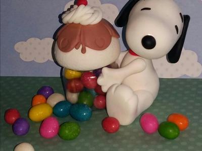 Pote cupcake com Snoopy de biscuit - Neuma Gonçalves