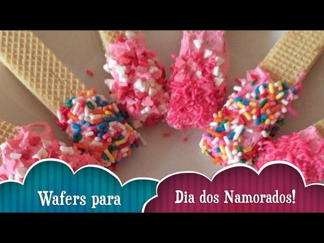 Valentine Wafers - Aprenda a fazer biscoitos cobertos de chocolate - DIY Valentine;s Waffers