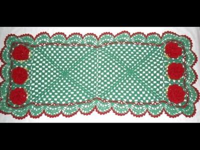 Caminho de mesa em crochê verde:  Iniciante Parte1