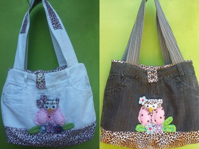 Como fazer bolsa com calça jeans (how to make a bag using a pair of jeans)