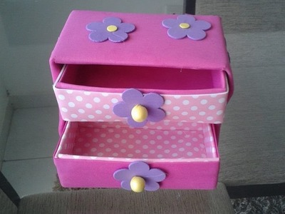 Como fazer caixa organizadora com gavetas,usando caixinhas de leite parte 2
