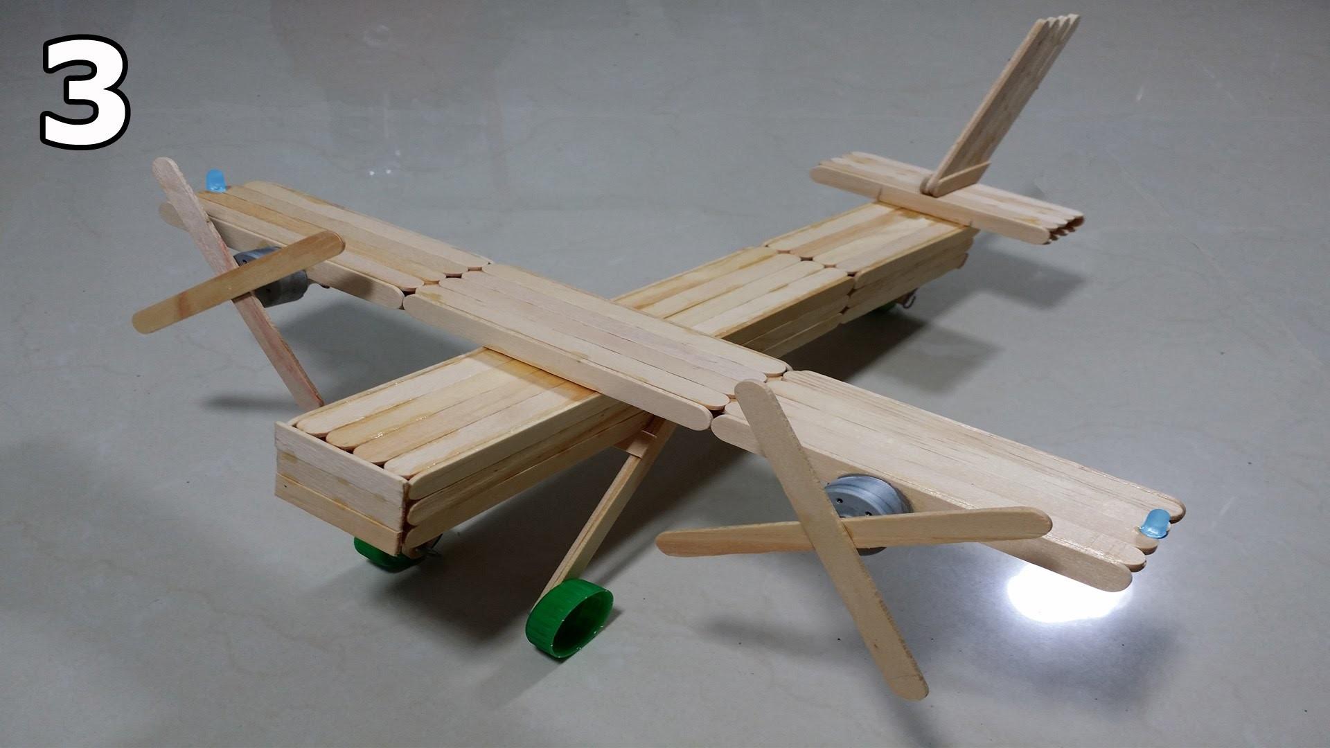 Como fazer um avião bimotor de palitos de picolé - Parte 3