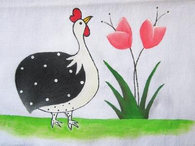 Como pintar no pano de prato: Galinha d'angola