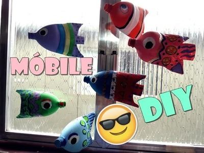 DIY Reciclagem com garrafa pet-  Móbile peixes coloridos