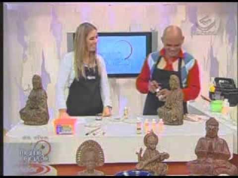 Imitação de madeira indiana, Deusa em gesso, Nildo Costa. Manhã Gazeta  Ione Borges Carol Guaraldo 2