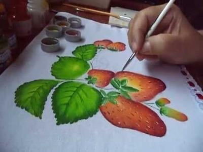 Pintura p. iniciantes  de morangos e folhas