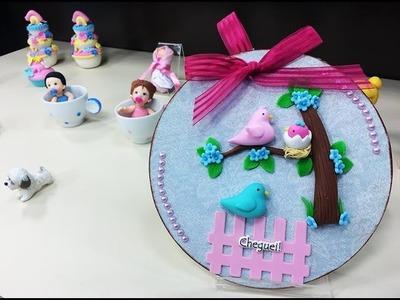 """Programa Arte Brasil - 18.02.2015 - Angela Rocha - Quadro Maternidade """"Pássaros"""" em Biscuit"""