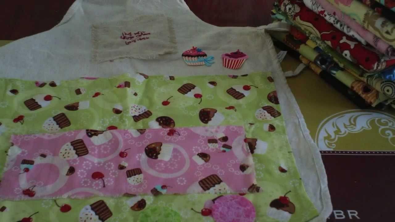 Tecidos temáticos e projeto de avental com uso do  Termocolante - Patchwork
