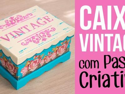 Caixa Vintage com Rosas - Stencil com Pasta Criativa