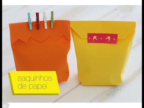 Como fazer saquinho de papel