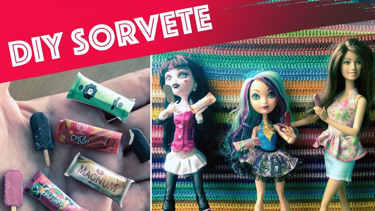 Como fazer sorvete (picolé) para Barbie, Monster High, EAH etc